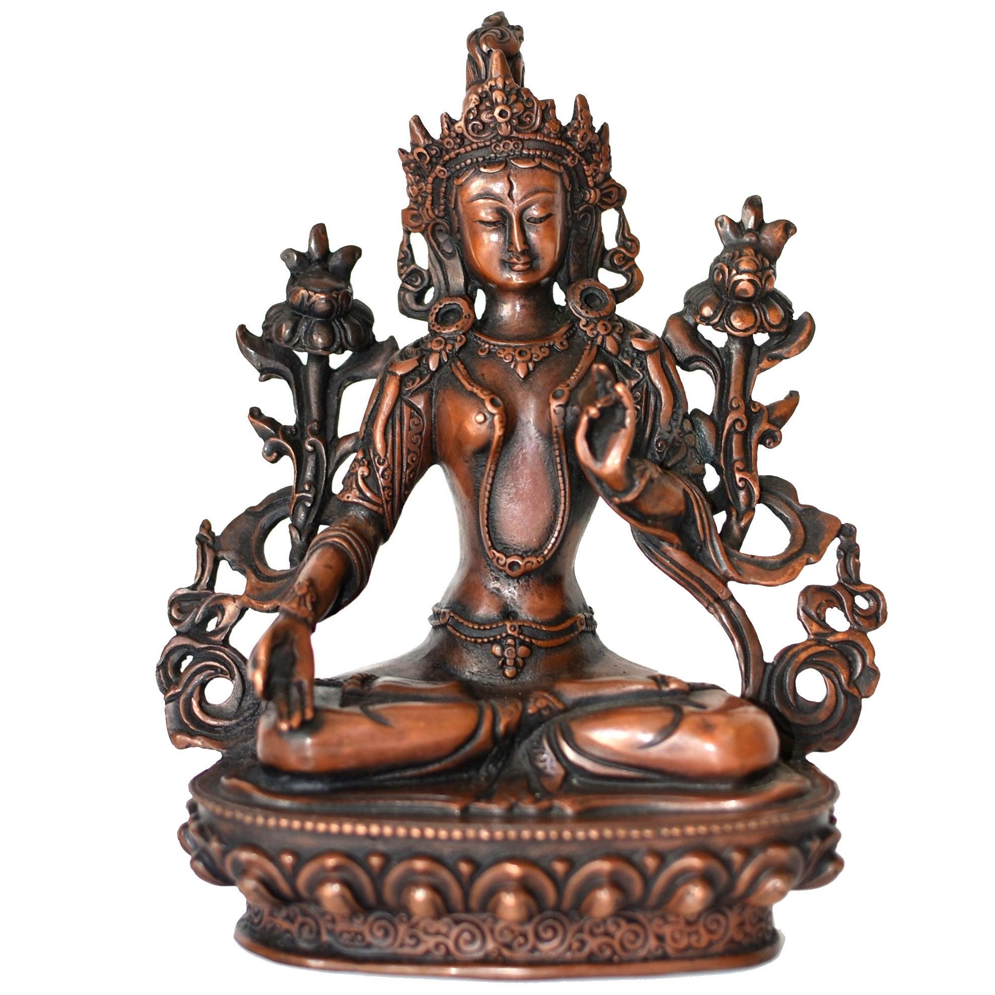 Bronze Tibetan White Tara, Copper Finish