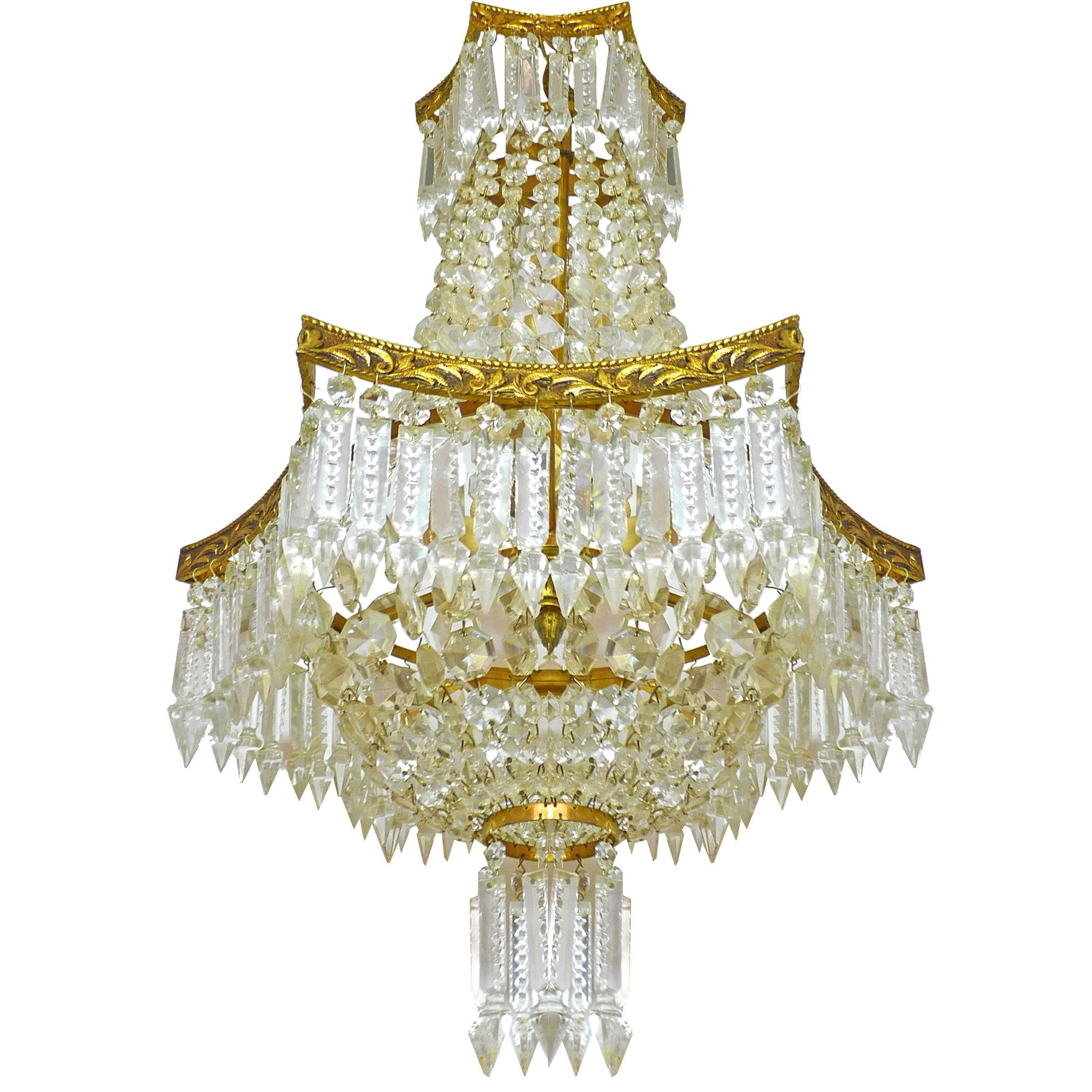 French Regency Empire Basket Neoclassical Chandeliergilt Bronze And Cut Crystal