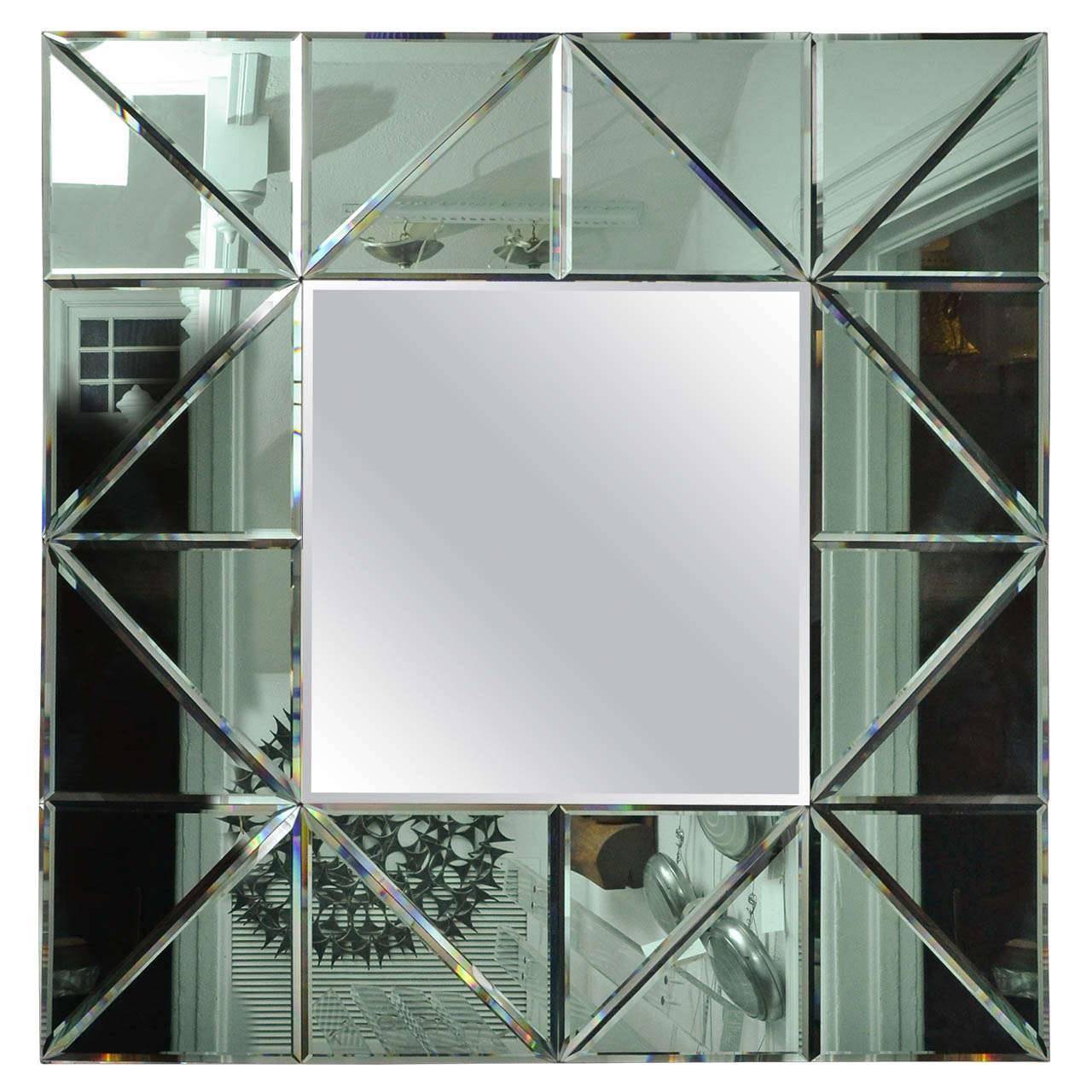 Green Glass Triangle Surround Bevel Mirror