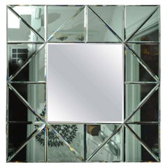 Green Glass Triangle Surround Bevel Mirror