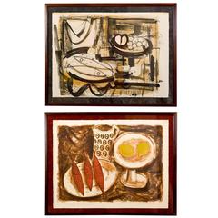 1950s Pair of Abstract Still Life Drawings by Emil Weddige