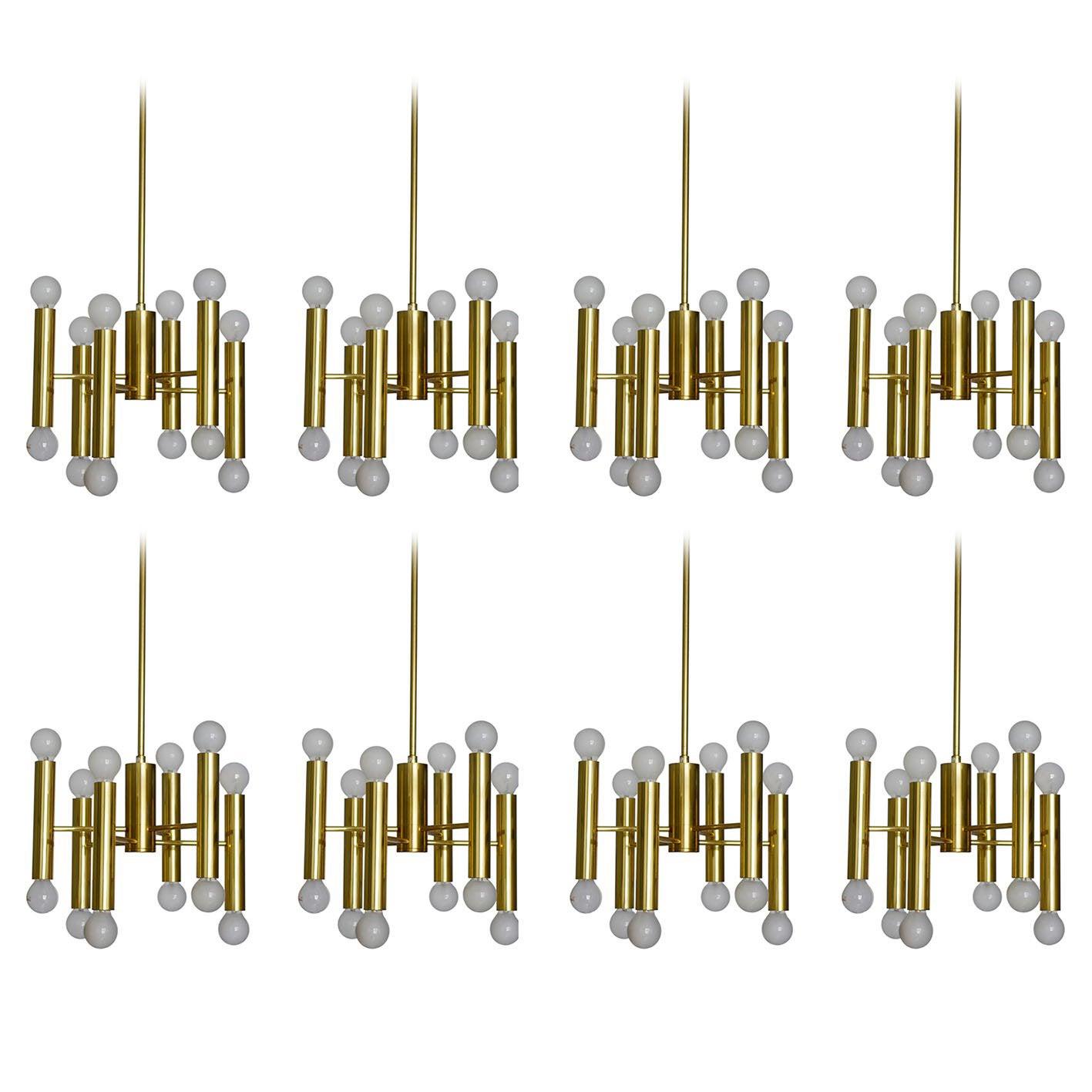 Eight Modernist Sciolari Tube Chandeliers Ceiling Lights Pendants, Italy, 1960s