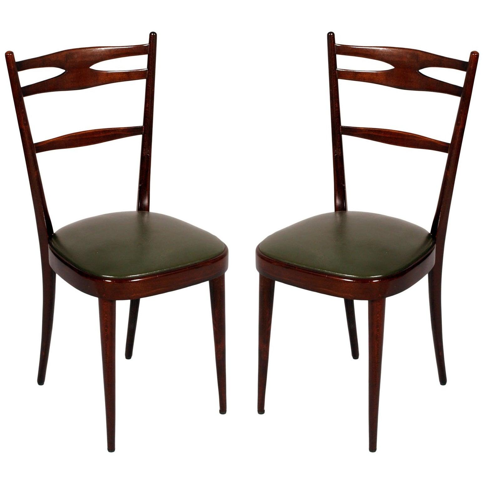 Italian 1950s Side Chairs Carlo de Carli Attributed in Brown Walnut Wax Polished