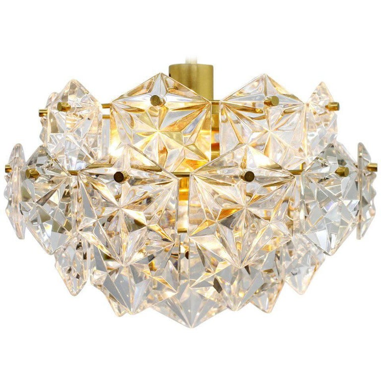 Kinkeldey Crystal Glass Chandelier Gilded Metal, 1960s