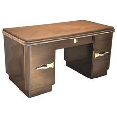Art Deco Desk With Dark Grey Metallic Finish