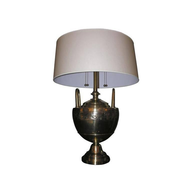 Table Lamp Art Deco patinated brass  attributed to Caldwell 1920's For Sale