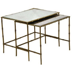 French Brass Bamboo and Glass Nesting, Side, or End Tables