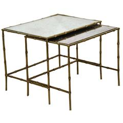 Midcentury Brass Bamboo and Glass Nesting, Side or End Tables