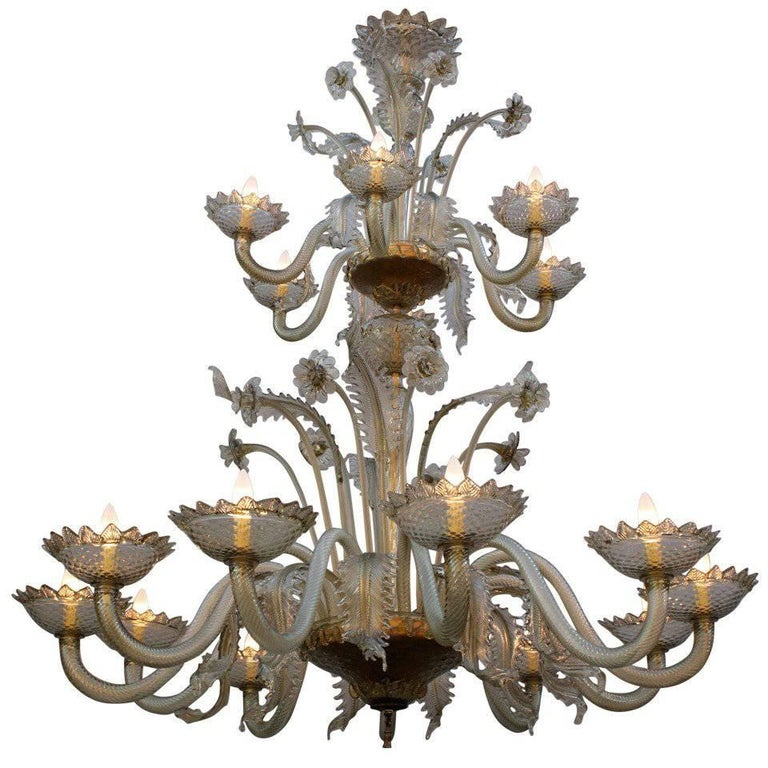 Imposing Antique, 1920s Two-Tier Murano Chandelier