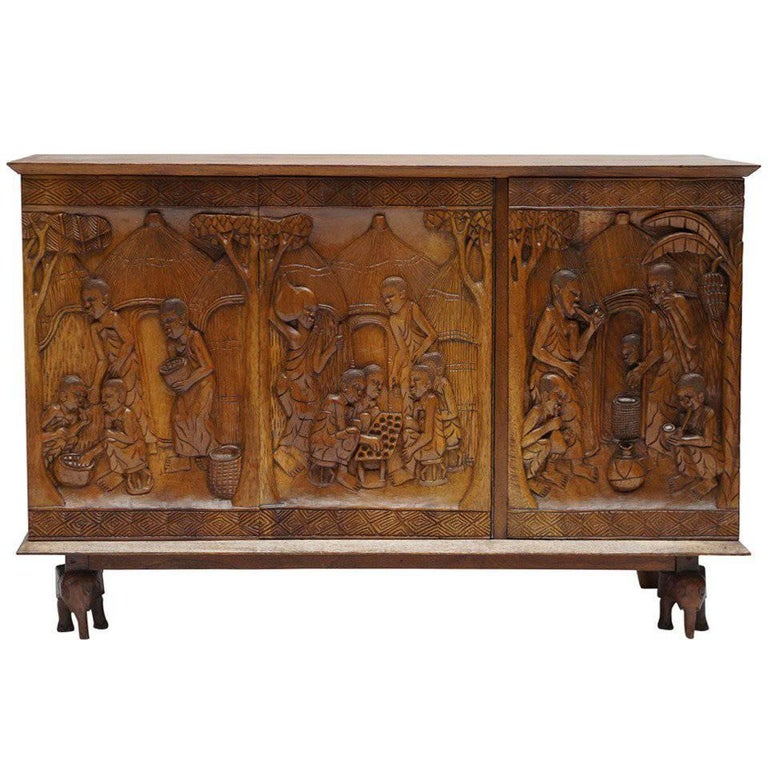1950s Carved Wooden Cabinet from Zaïre For Sale