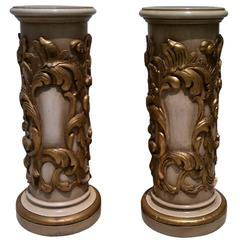 Pair of Carved and Gilded Pedestals from Spain