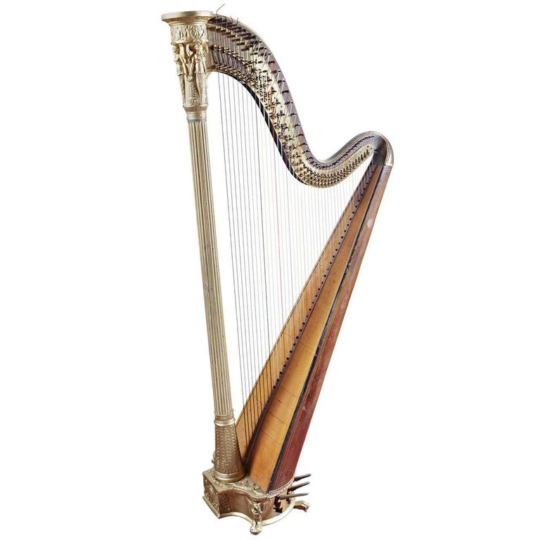 Early 19th Century French Maple and Gilt Double Action Harp by S. Erard 1811