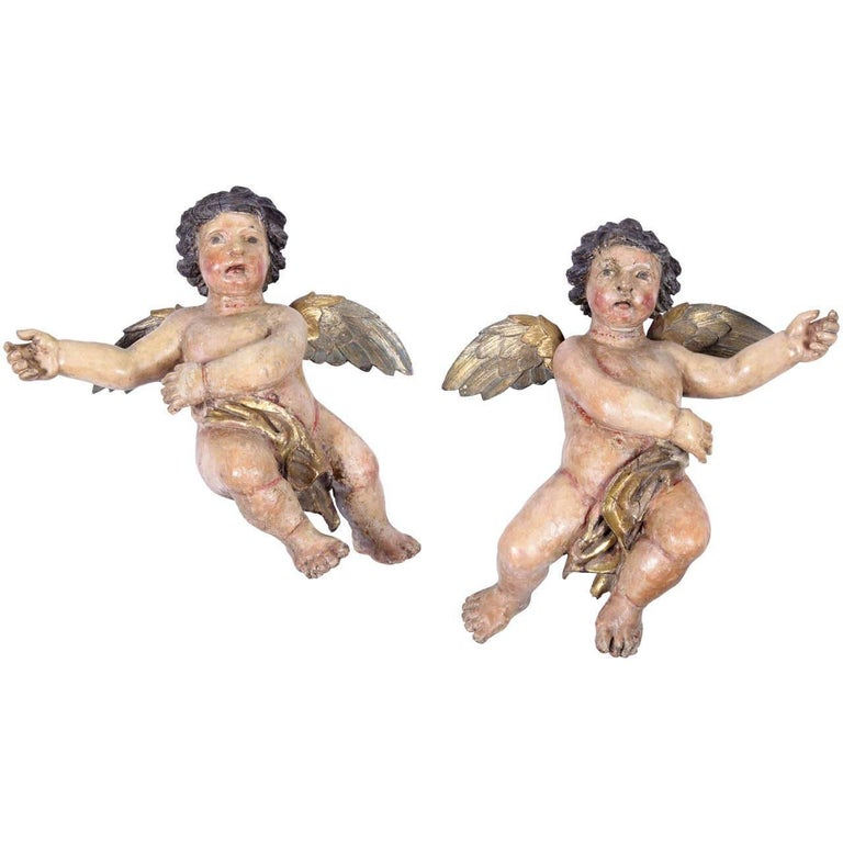 Pair of 18th Century Italian Carved Polychrome and Gilt Cherubs Sculptures