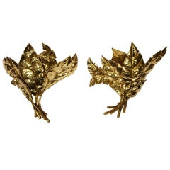 Pair of Leaf Sconces by Jacques Duval-Brasseur