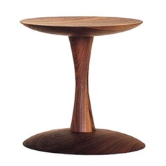 Turn Contemporary Pedestal Side Table in Walnut by Patty Johnson