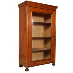 Italian Antique 19th Century Rustic Country Bookcase in Solid Pine Wax Polished