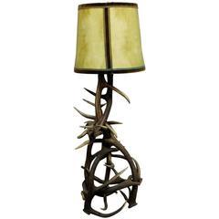 Large Rustic Black Forest Antler Floor Lamp