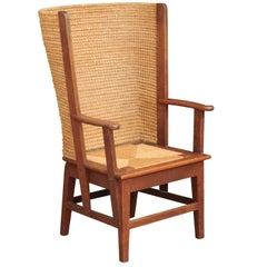 Late 19th Century Scottish Orkney Chair with Wraparound Handwoven Straw Back