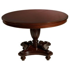 Early 20th Century Italian Extendable Round Table Regency Style Wax-Polished