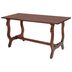 Late 19th Century Elegant Italian Frattino Table All Solid Walnut Wax-Polished
