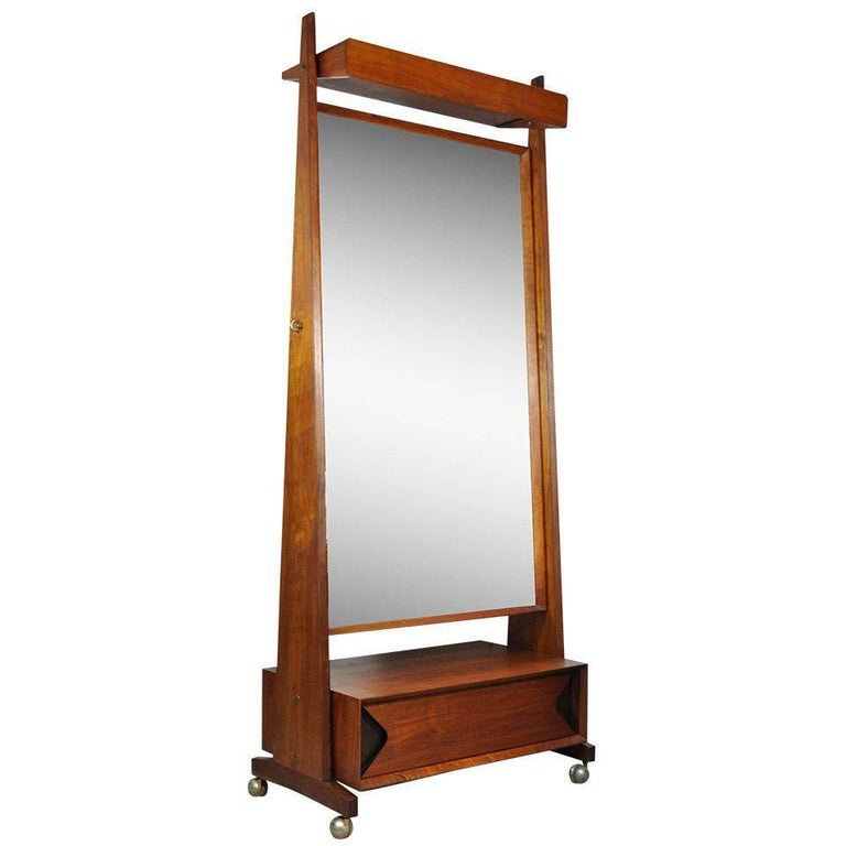 Marc berge grosfeld house walnut cheval tall mirror for Tall mirrors for sale