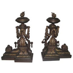 1880s Ornate Bronze Andirons with Flame Finials from France