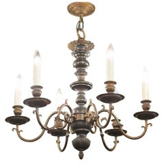 1930s Six-Light Chandelier with Oil Rubbed Bronze Finish