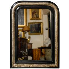 French 1900s Louis-Philippe Ebonized Wood and Silver Gilt Vertical Mirror