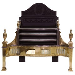 21st Century Regency Brass and Cast Iron Fireplace Basket