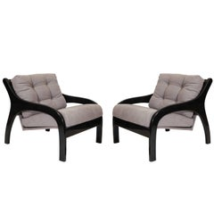Black Fauteuils, Lacquer with Contemporary Grey Fabric