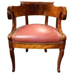 19th Century Charles X Desk Chair in Mahogany with a Rounded Back