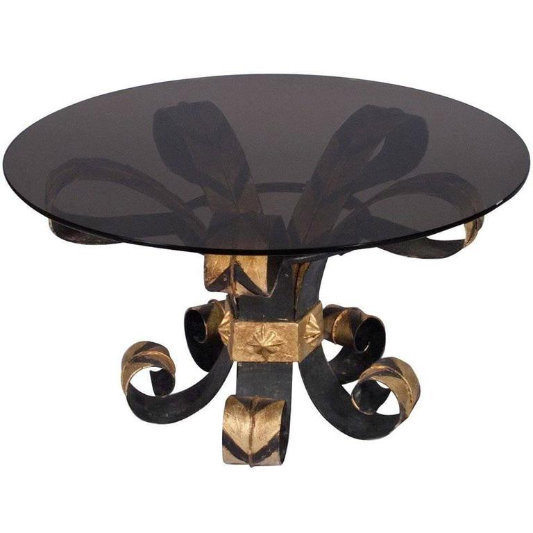 French 1960s Forged Iron Coffee Table with Smoked Glass Top