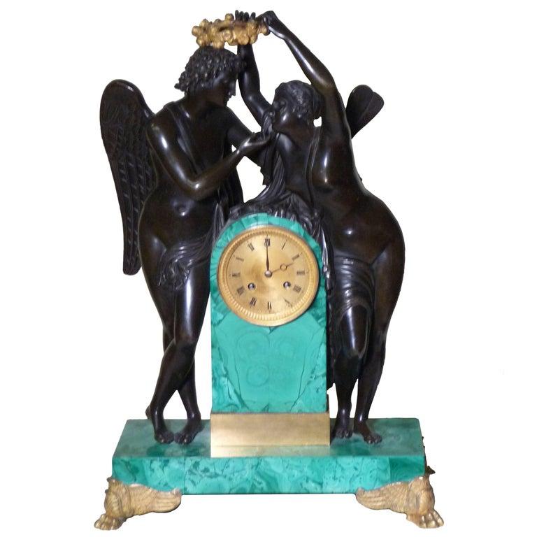 Superb Russian Empire Gilt Bronze Malachite Clock-Makers Mark-Proven, circa 1828
