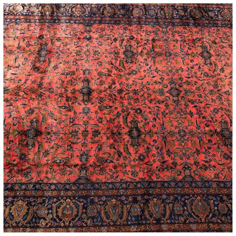 Antique Wool Kashan Persian Rug