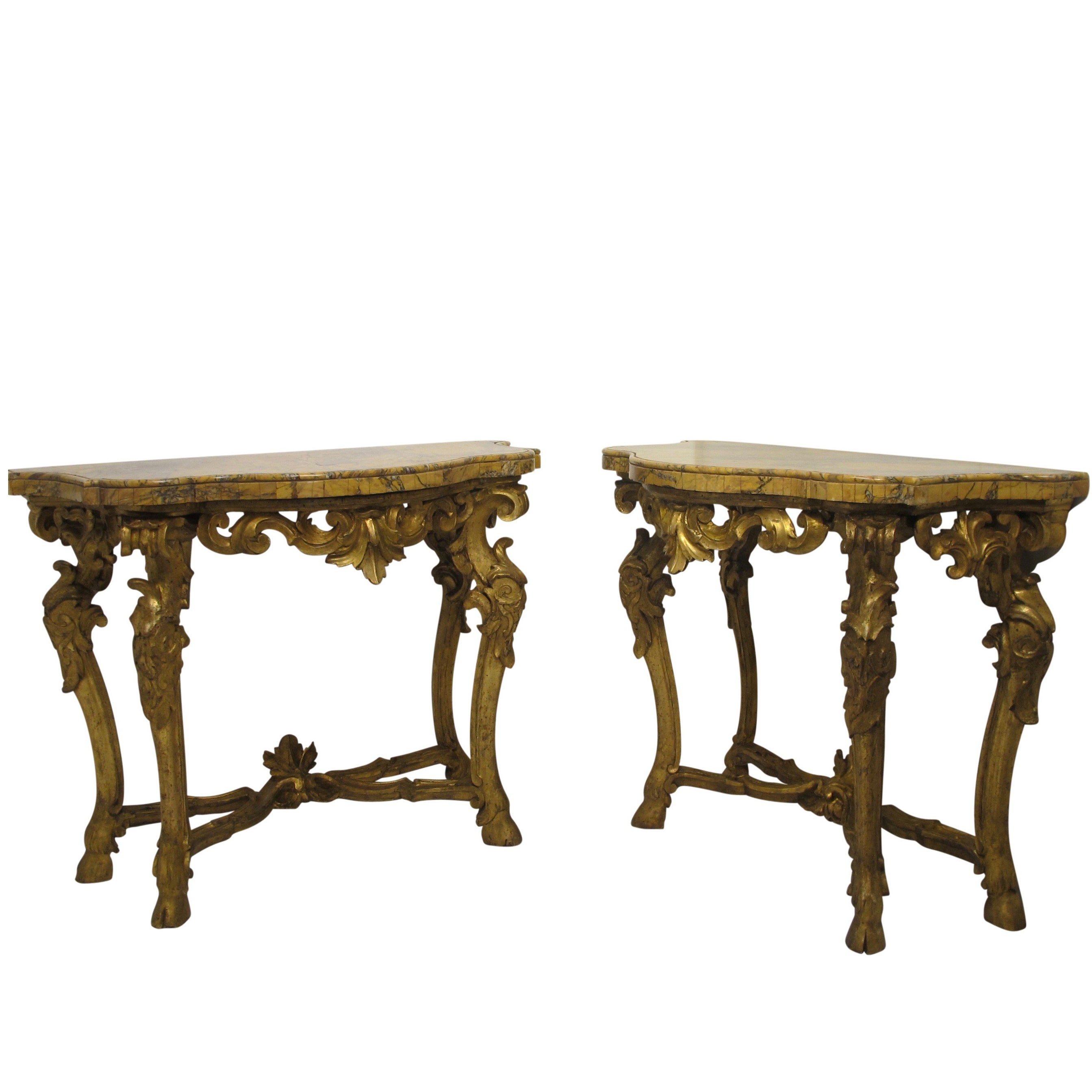 Pair of Carved & Gilt Console Tables with Breche Marble Tops Italian, circa 1780