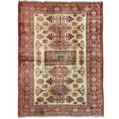 Vintage Turkish Oushak Accent Rug with Tribal Style