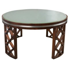 Scandinavian Modern Coffee Table with Lattice Legs Metal Inlay Acid Etched Top