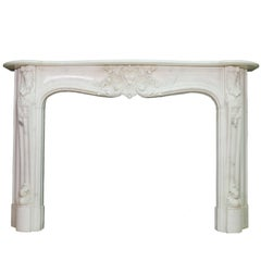 19th Century Regency Statuary White Marble Fireplace Chimneypiece