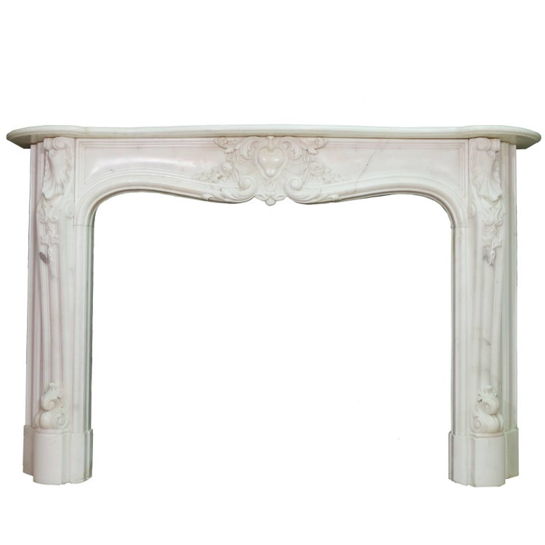19th Century Regency Statuary White Marble Fireplace Chimneypiece