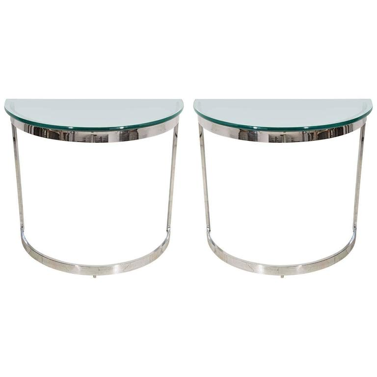 Pair Of Mid Century Modern Chrome And Gl Demilune Console Tables For