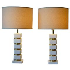 Pair of Art Deco Style White and Brass Stacked Disk Table Lamps