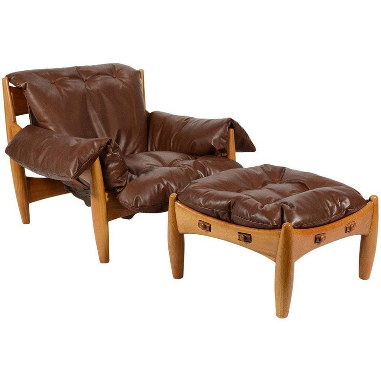 Sergio Rodrigues Sheriff Lounge Chair and Ottoman