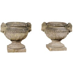 Pair of English 1880s Concrete Garden Urns with Rams Heads and Waterleaves