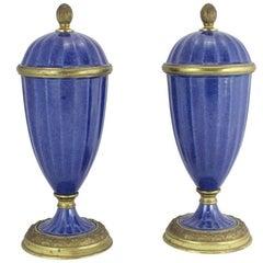 Pair of Garniture in Lapis Blue by Paul Milet for Sevres