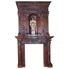 Monumental 19th Century French Napoleon III Carved Walnut Mantel with Niche