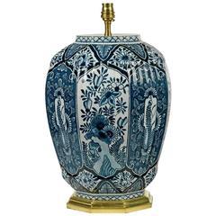 Elegant Dutch Delft Vase Lamp