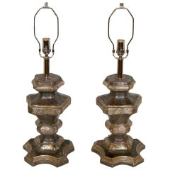 Pair of Italian Silvered Wood Candle Pedestals as Table Lamps