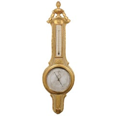 French 19th Century Gilt and Painted Wood Barometer with Urn Carved Crest