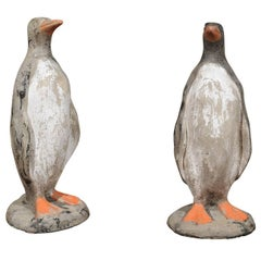 Pair of French 19th Century Lifesize Penguin Sculptures with Weathered Finish
