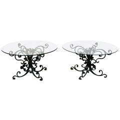 Pair of Decorated Hand-Wrought Art Nouveau Iron Side Tables